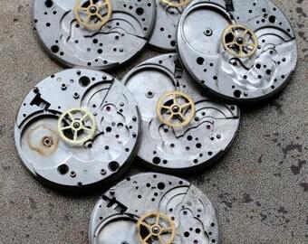 Vintage pocket watch movement parts -- plates -- set of 6 -- D6