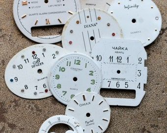 White Wrist Watch Faces -- set of 9 -- D3