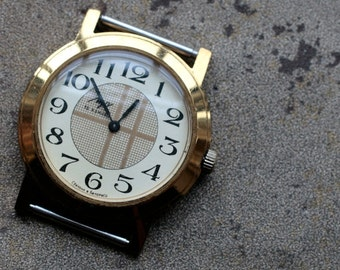Vintage wristwatch LUCH -- gold plated
