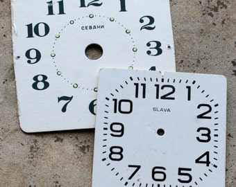 Vintage Alarm Clock Faces -- cardboard -- set of 2 -- D8