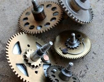 Vintage clock large brass gears -- set of 5 -- D9