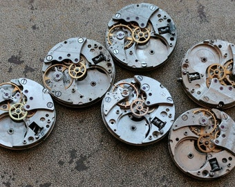 Vintage Watch Movements -- identical -- set of  6 -- D12