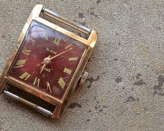 Vintage Soviet ladies wristwatch SLAVA -- gold plated
