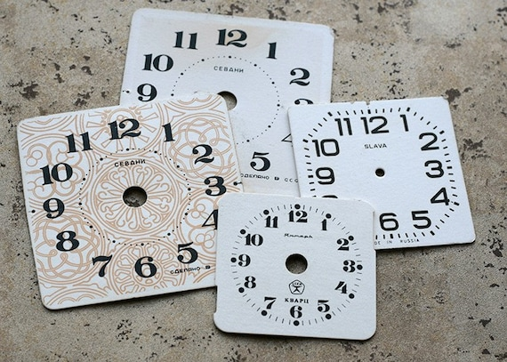 Vintage Alarm Clock Faces -- cardboard