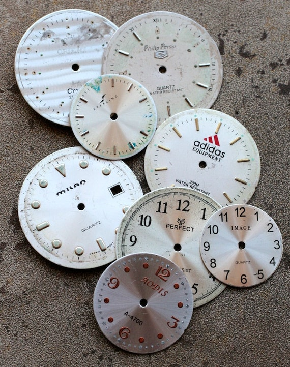 White Wrist Watch Faces -- set of 8 -- D7