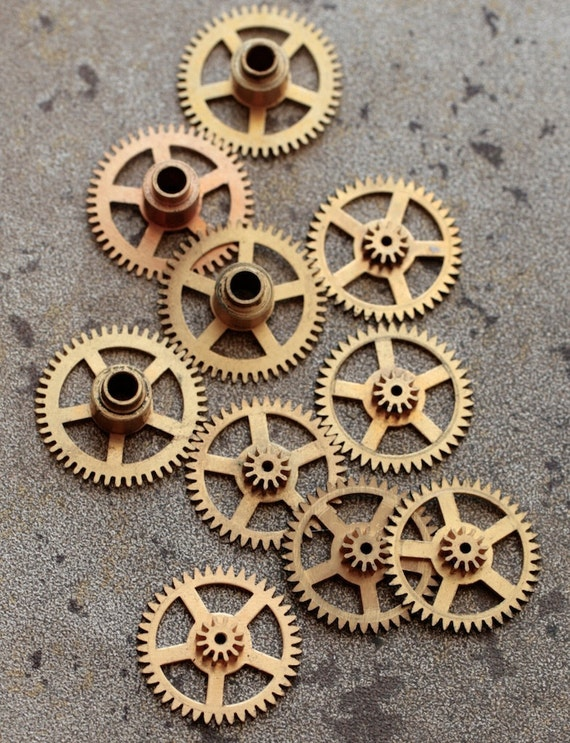 Vintage selection of small  clock gears -- set of 10 -- D6