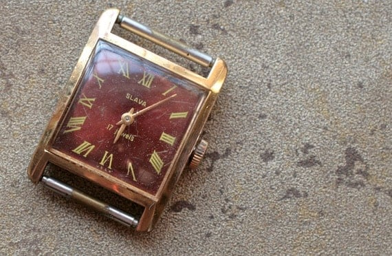 Vintage Soviet ladies wristwatch SLAVA -- gold plated