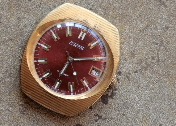 Vintage Soviet Watch -- VOSTOK -- gold plated