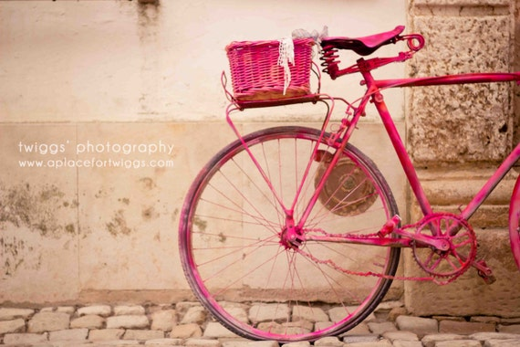 The Lady in Pink 8x12 Original Fine Art Photograph - vibrant pink vintage bike romantic whimsical