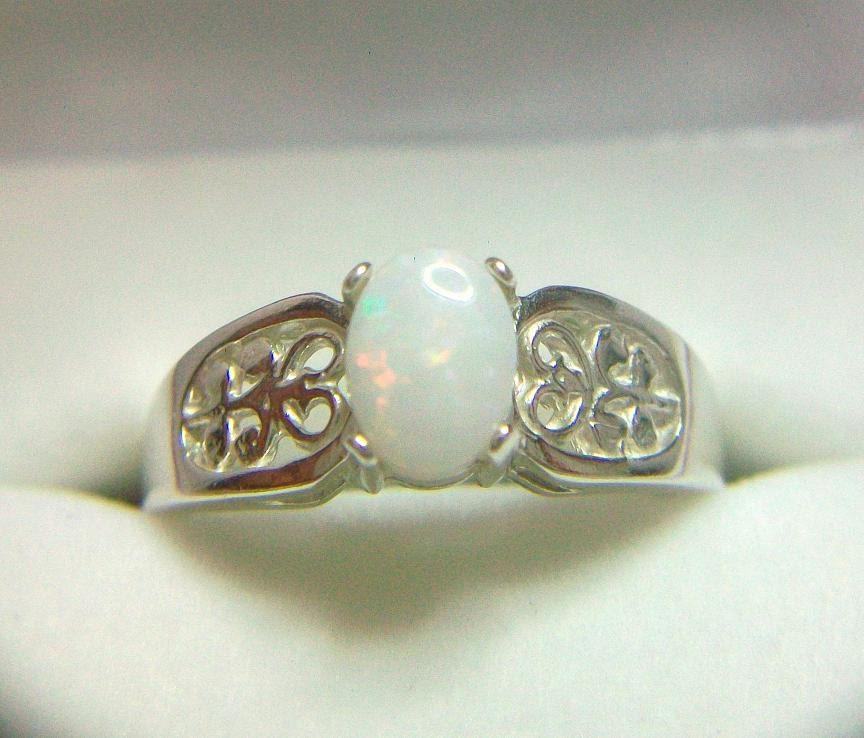 Filigree White Opal Ring Engagement Genuine by YorkAvenueStudio