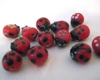 Glass Lady Bug Beads 25 pieces