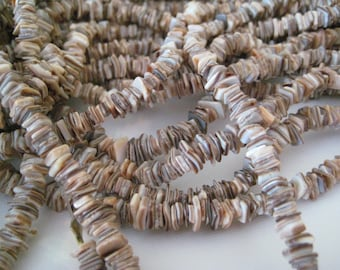 "2 Strands of Natural Shell Chips 15"" Strands"