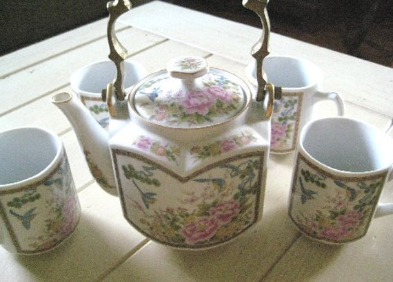 Homco Oriental Vintage Teapot and Cups
