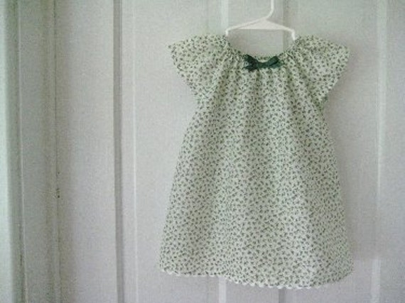 SALE Shabby Chic Little Girls Green Floral Calico Print Dress Size 12 months only Ready To Ship