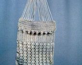 ANTIQUE - 1930s - HANDMADE crocheted POUCH - off white