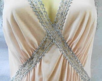 Luxite Grecian style nightgown by Holeproof new old stock NOS 1960's soft light pink with gray accents smooth, cool and comfortable size S
