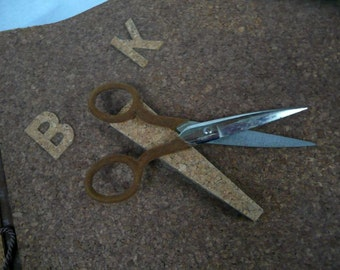 SCRAPBOOK -  awesome BOOK of SCRAPS -  with scissors built in - blank - cork - wonderful