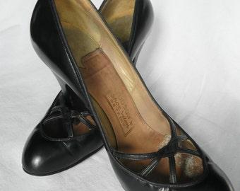 HEELS - BLACK 40's - 50's tall heels - PANDORA Footwear - Hudson Shoe Salon - Detroit - size 6