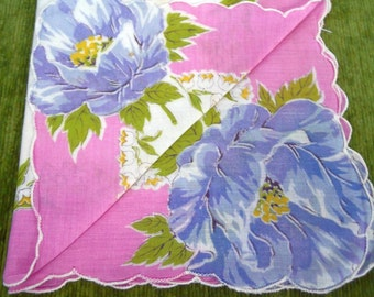 HANDKERCHIEF - FLORAL printed hanky - scalloped - LILY of the valley - blue - pink - white