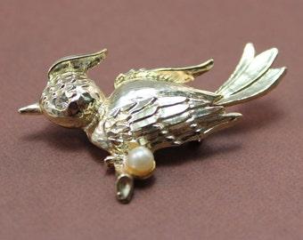 BROOCH - BIRD - gold bird sitting on a BRANCH - pearl and rhinestone