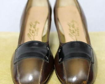 L.G. Haig Shoes brown heels olive and black leather lady's pumps 1960's leather dress leather small Mad Men Style mcm mid century size 5