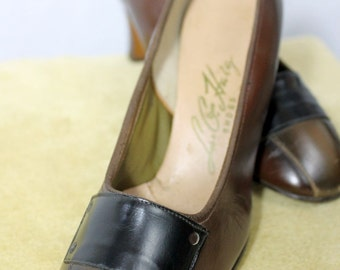 HEELS - BROWN - L.G. Haig Shoes - brown, olive and black leather - size 5