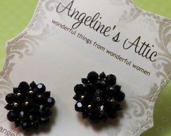 EARRINGS - BLACK - FACETED glass bead earrings - clip