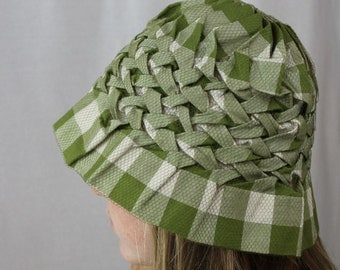 HAT - BUCKET hat - stretchy with puckers - checkerboard covered in tulle - GREEN