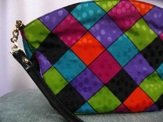 PURSE - FUN 1980s - fuschia, orange, purple, turquoise, lime green and black purse