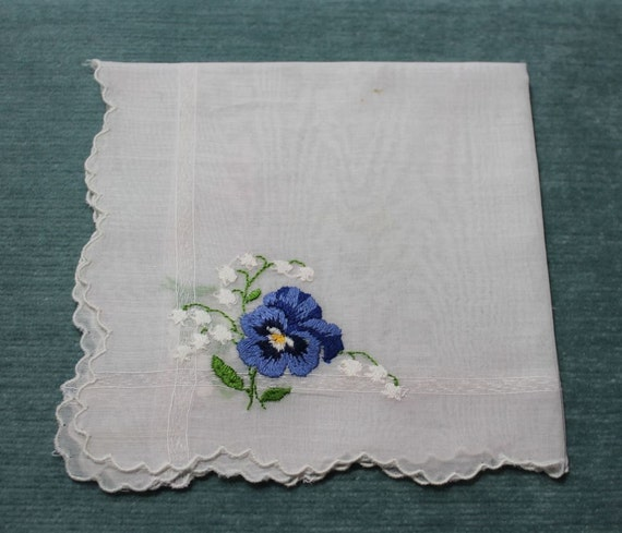 HANDKERCHIEF - EMBROIDERED - PANSY - lily of the valley - delicate hanky
