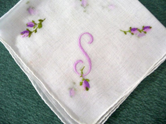 HANDKERCHIEF - EMBROIDERED - initial S - PURPLE - flower buds