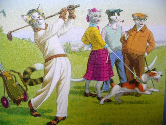 CATS - GOLFING - Alfred MAINZER - set of 2 - printed in Belgium - uncirculated postcard - 4883 and 4980