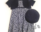 Black and White Dress, Jacket, and Hat Set - Layer for the Weather Girls Size 8 - FREE SHIPPING within USA
