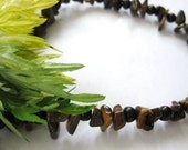 Stone Necklace for Men Tigereye and Dark Bamboo Wood Natural Earthy