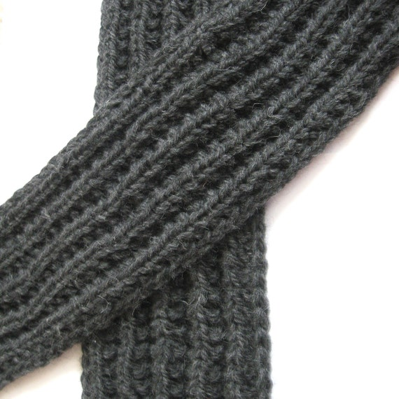 Warm Winter Scarf Gray Pure Wool