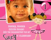 Mod Minnie Girl - custom kids PHOTO party invitation invite - for the Minnie Mouse Lover