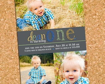 Charming Penciled One | custom kids photo invitation, boy party picture collage invite - Printable Digital File, Print Service Available
