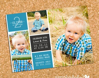 Ollie Blue Blocks | custom kids photo party invitation, boy picture collage party invite, multiple photo invite - Printable Design File