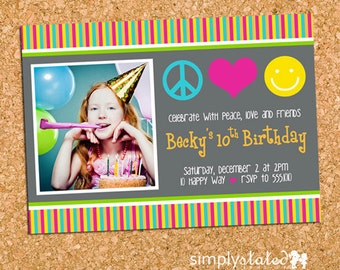 Groovy 70's Hippie Birthday Party Photo Invitation, Tween Teen Party Invite - DiY Printable, Print Service Available || Peace. Love. Smiles.