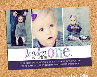 Girl First Birthday Party Photo Invitation, Purple Girls Birthday Party Invite, 1st First Birthday - DiY Printable || Three Times As Pretty
