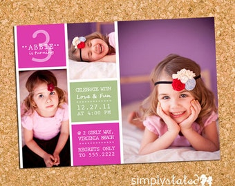 Girls Birthday Party Photo Invitation, Girl Party Invite, Photo Collage - DiY Printable, Print Service Available || Lily Limeade Blocks