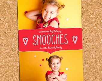 Two Photo Valentine's Day Card, Smooches Picture Valentines, Valentine Card - DiY Printable, Print Service Available || Smooches Scribbles