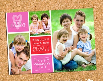 Three Photo Family Valentine's Day Photo Card, Picture Collage Family Valentine - DiY Printable, Print Service Available || Valentine Blocks