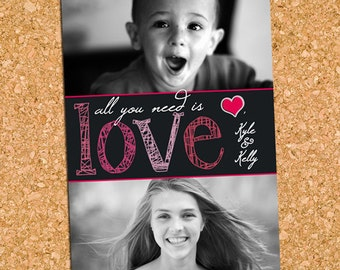 All You Need is Love Valentine's Day Photo Card, Two Photo Valentine - DiY Printable, Print Service Available || Chalkboard Valentine Duo
