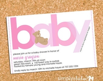 Teddy Bear Pink Baby Shower Invitation, Bear Girl Baby Shower Invite, Girls - DiY Printable, Print Service Available || All About Beary Pink