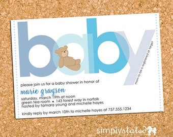 Teddy Bear Baby Boy Shower Invitation, Bear Baby Shower Invite, Modern Blue - DiY Printable, Print Service Available || All About Beary Blue