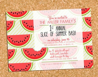 Watermelon Summer Party Invitation, Watermelon Slices Invite - DIY Printable, Print Service Available || A Watermelon Slice of Summer Fun
