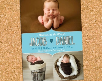 Baby Boy Blue Collage Birth Announcement , Boy Birth Photo Announcement, Picture Collage Announcement - DiY Printable || Cotton Scribbles
