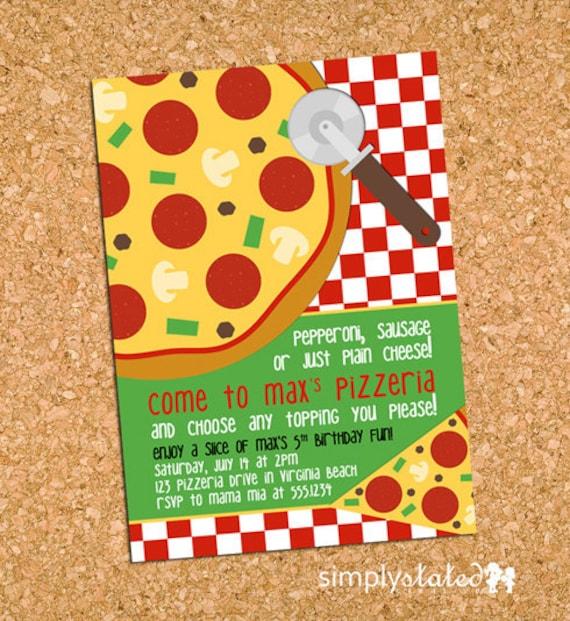 Pizza Party Invitation Pizzeria Birthday Invite Class Pizza – Pizza Party Invites