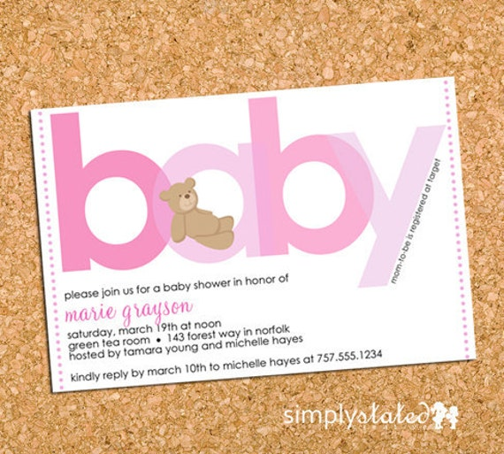 All About Beary Pink | custom pink baby shower invitation, teddy bear baby shower invite - Printable Design File, Print Service Available